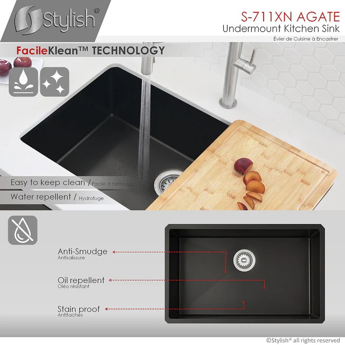 stylish 30 inch single bowl undermount stainless steel kitchen sink in black pearl finish