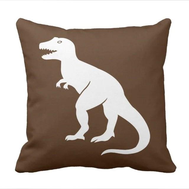 brown t rex dinosaur throw pillow cover