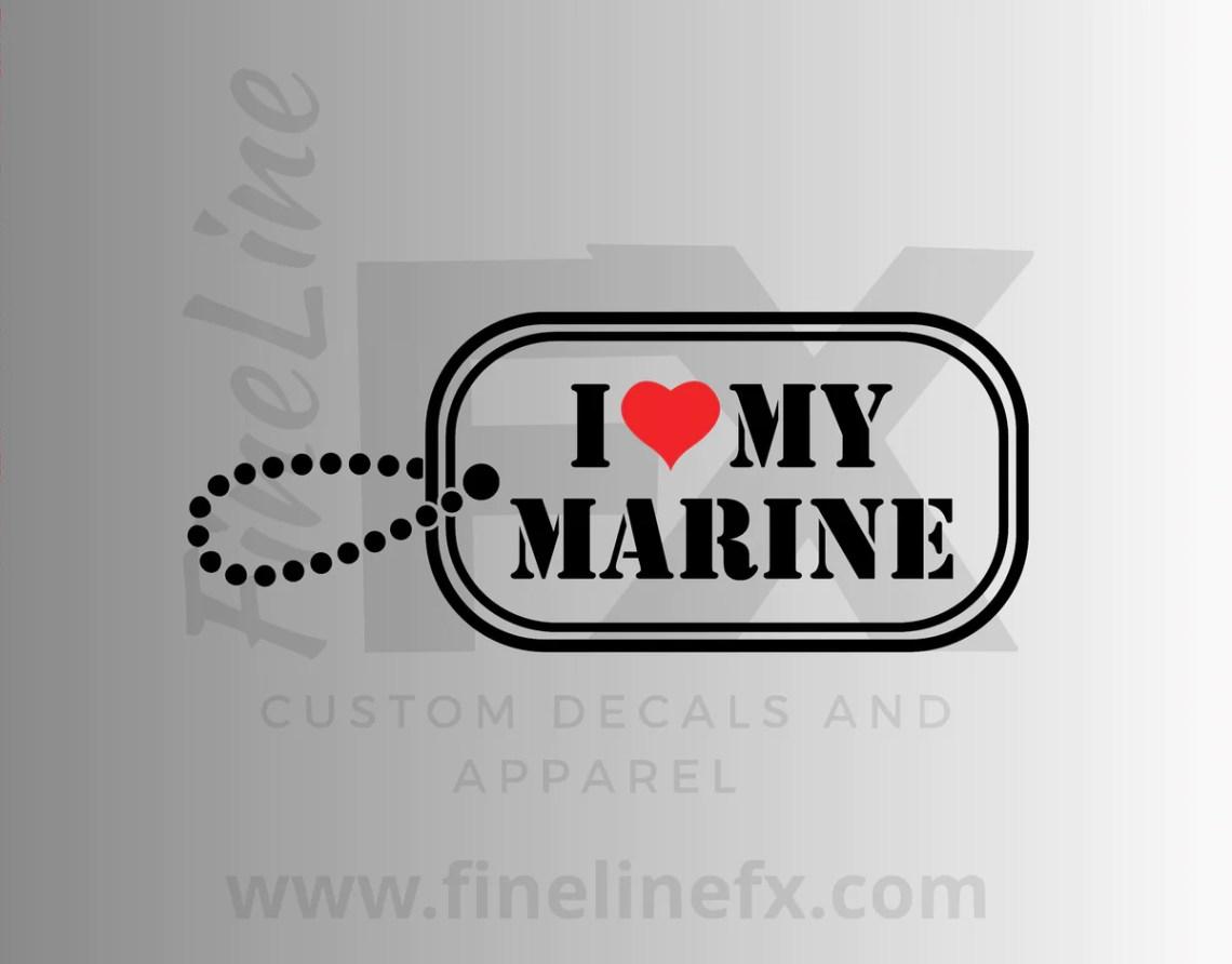 Download I Love My Marine Military Dog Tag Vinyl Decal Sticker