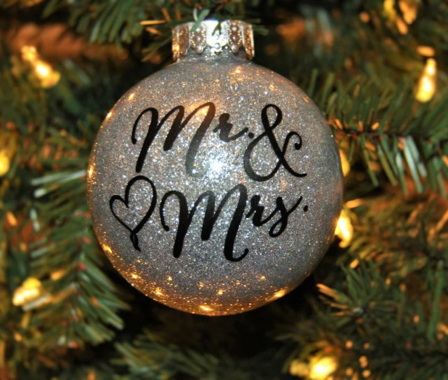 Christmas Ornament Newlyweds Glitter Ball Mr Mrs Sparkly Bauble Custom Christmas Decorations Tree Ornaments