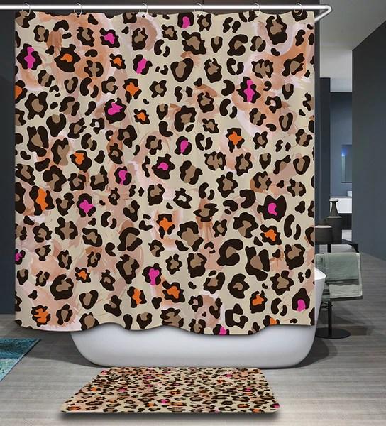 animal leopard cheetah print shower curtain
