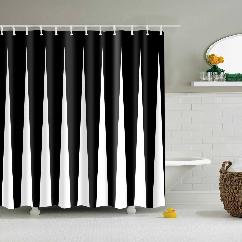 black white modern bevel stripe monochrome shower curtain