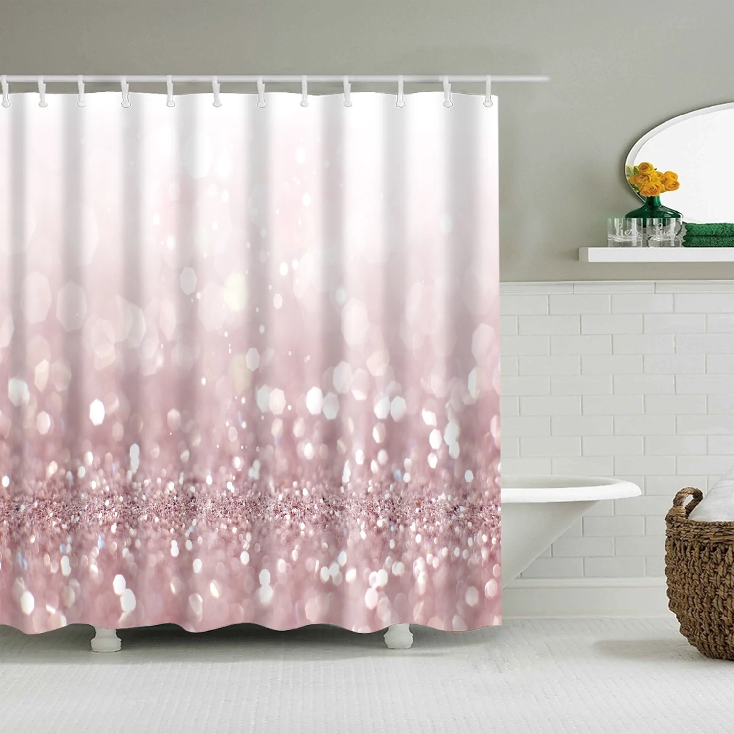 bling printed sparkly rose pink glitter shower curtain