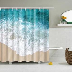 blue waves clear beach style coastal shower curtain bathroom decor