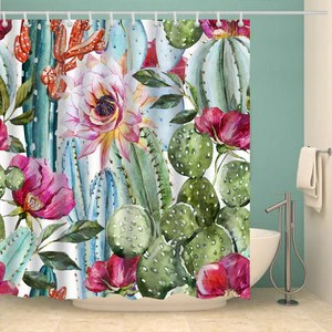 boho succulent watercolor cactus seamless shower curtain