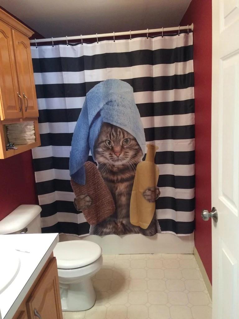 Cat Bathing Time Black Striped Shower Curtain Bathroom Decor