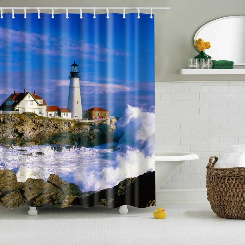 kustenwache blauer himmel dusche curtain bath decor gojeek