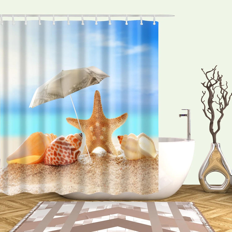 coral starfish shower curtain summer sunbathring seashell bathroom decor