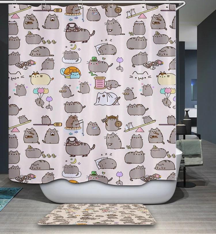 Cute Pusheen Cat Shower Curtain GoJeek