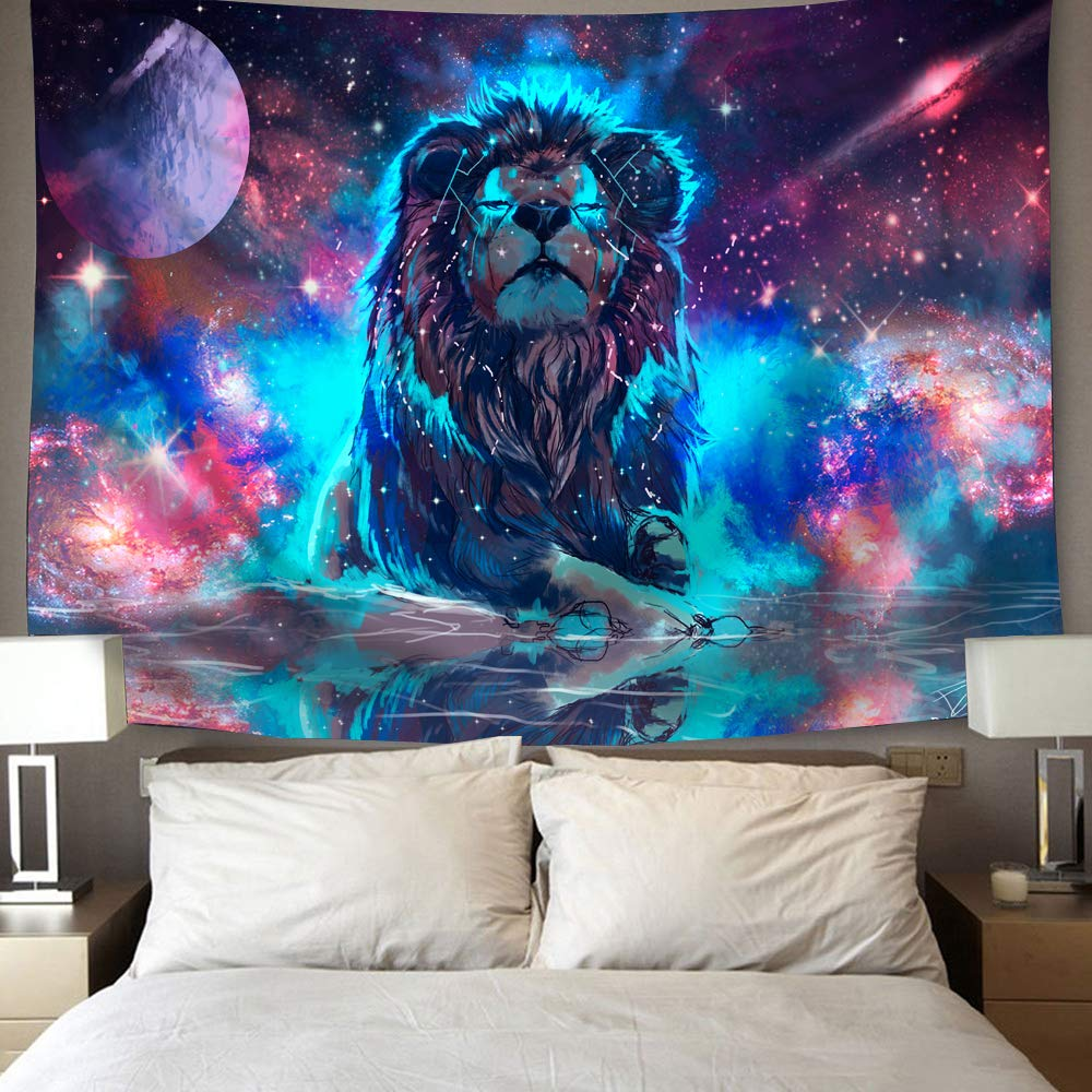 Fantasy Constellation Galaxy Space Leo Lion Tapestry Wall Hangings GoJeek