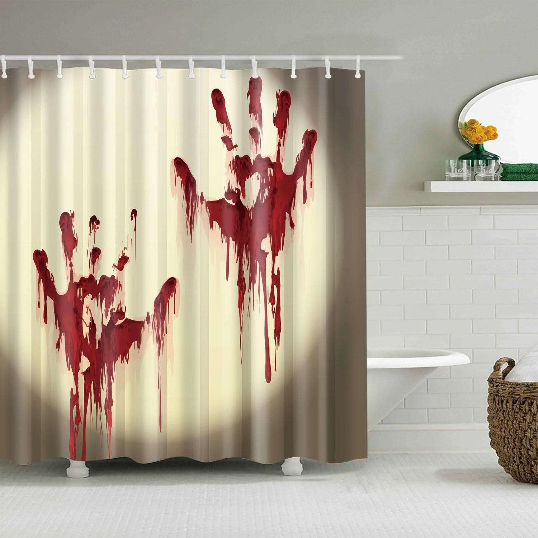 halloween scary bloody handprint shower curtain bathroom decor