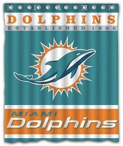 miami dolphins football team logo shower curtain