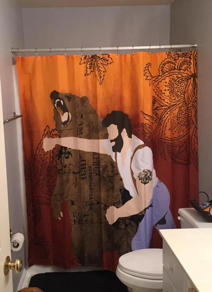 nerdy haymaker man punching bear shower curtain bathroom decor