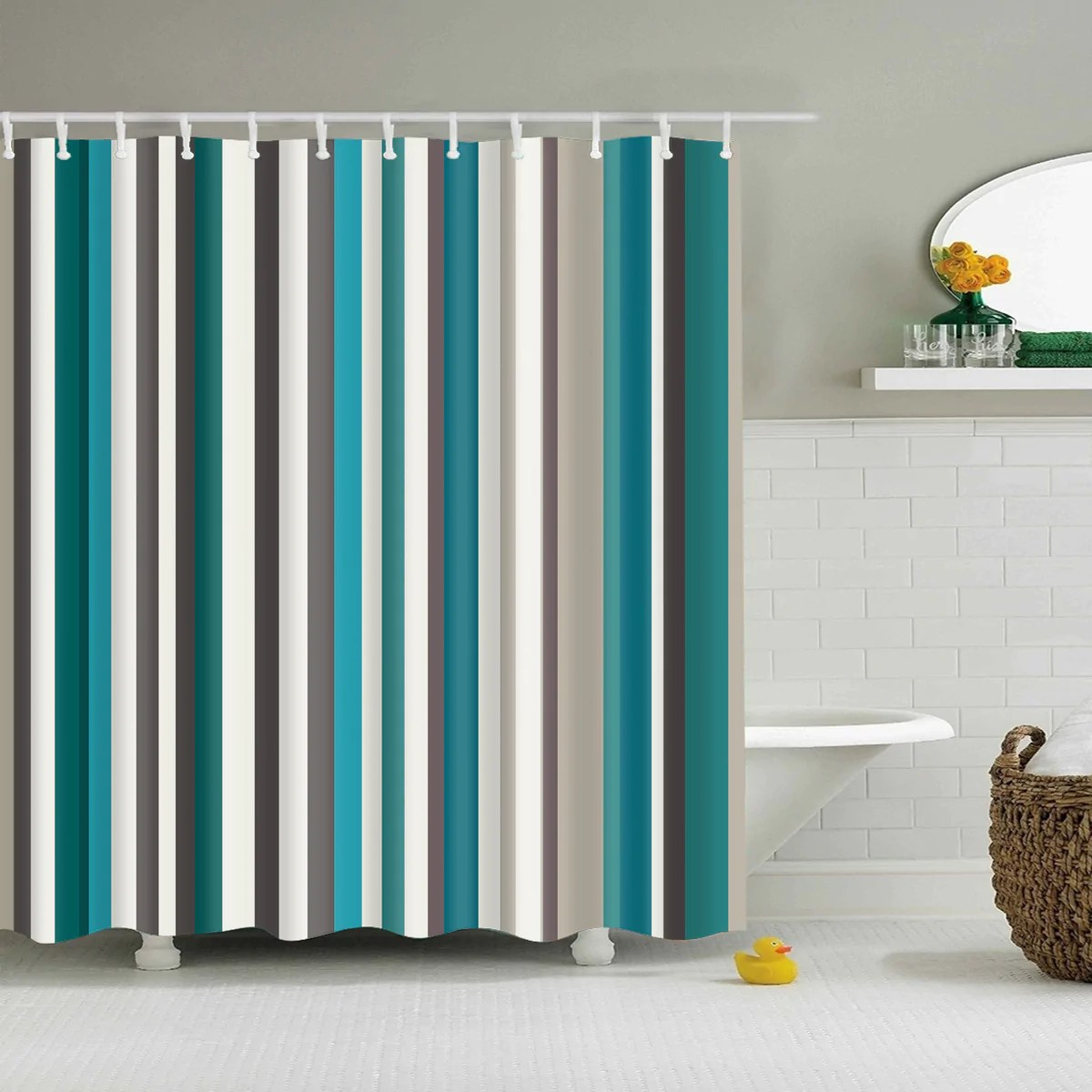 Retro Seamless Blue Stripes Shower Curtain Bathroom Decor
