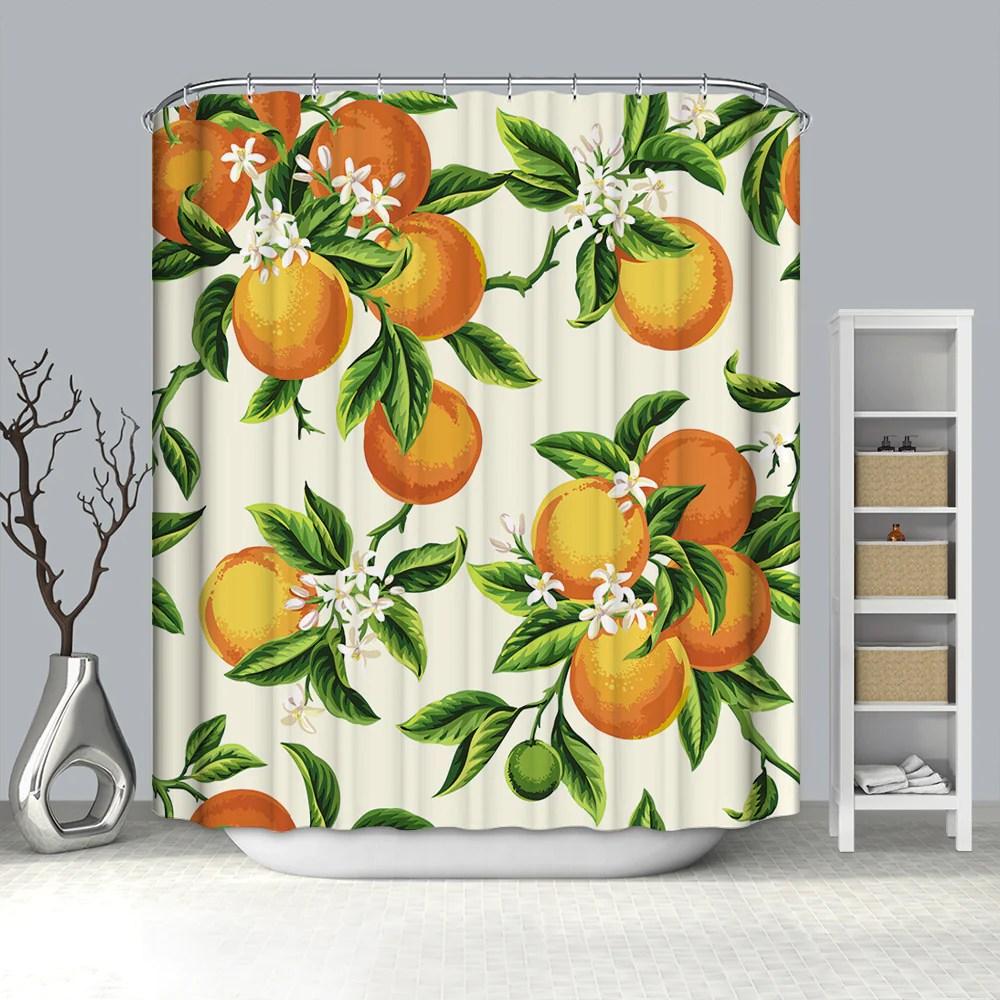retro seamless citrus fruit orange leaves shower curtain bathroom decor gojeek
