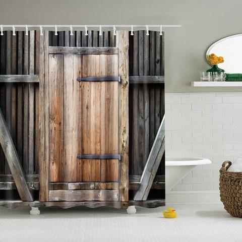 wood barn door shower curtain