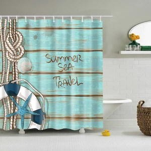 summer sea travel coastal deck lifebuoy shower curtain bathroom decor