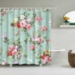 Teal Backdrop Pink Rose Flower Shower Curtain Gojeek