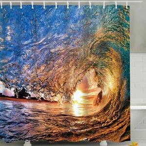 water in crest shape ocean wave shower curtain bathroom decor