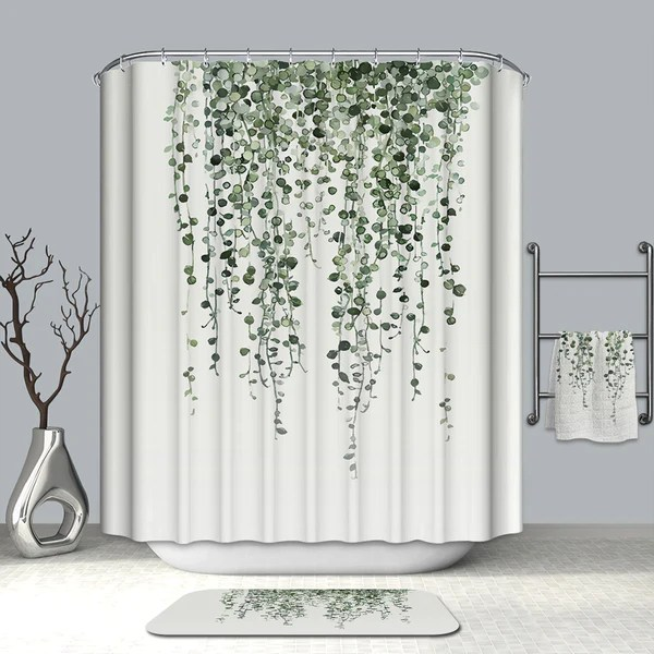 white green eucalyptus plant shower curtain spring bathroom decor accessories gojeek