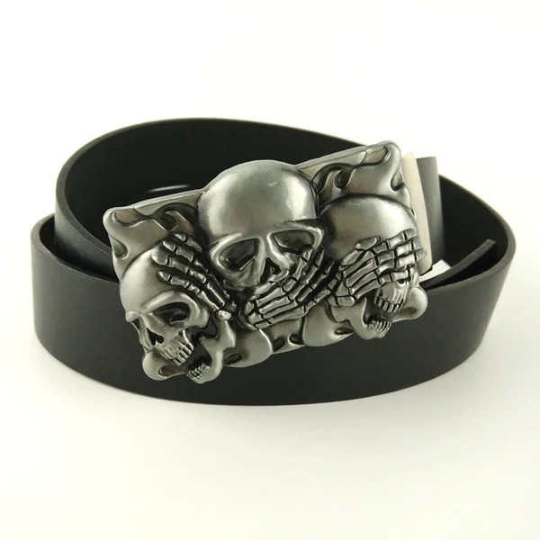 Retail Good Plating Skull Belt Buckle Cowboy Cowgirl Cool Skeleton Skull Head Metal Buckles Apparel Accessories Suit 4cm Pu Belt 2019 Official Buckles & Hooks