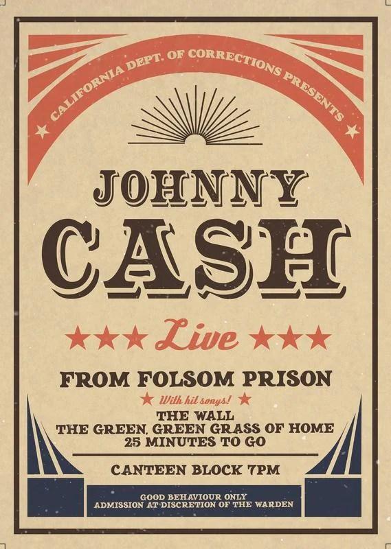 johnny cash print poster music 70 s wall art a4 maxi a2 a3 bands album 1817 kunst autrement dit antiquitaten kunst