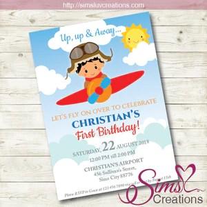 airplane birthday invitation aviator party invitation custom photo
