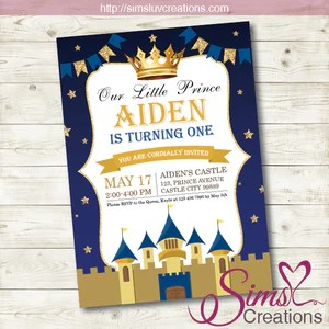 royal blue and gold little prince birthday invitation party invitation