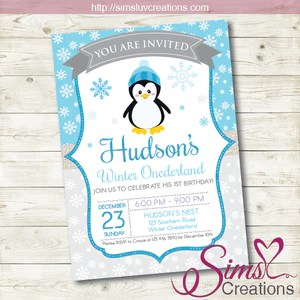 winter onederland birthday printable invitation penguin party invitation