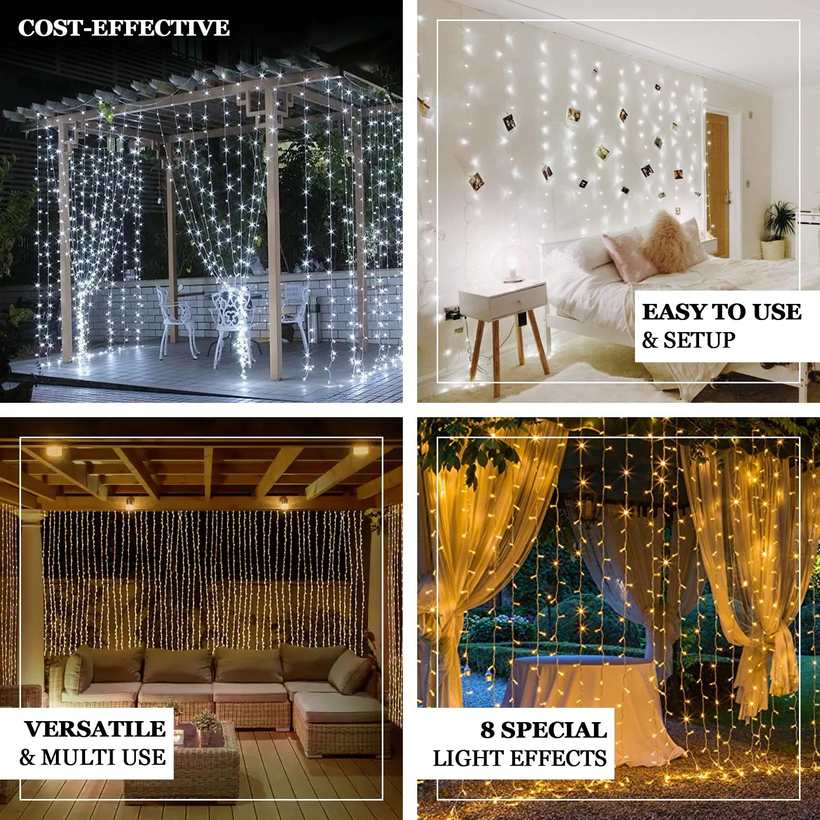 10ftx10ft warm white 300 led icicle lights backdrop curtain lights with 8 lighting modes