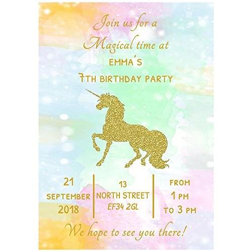20 personalised gold unicorn birthday party invitations envelopes