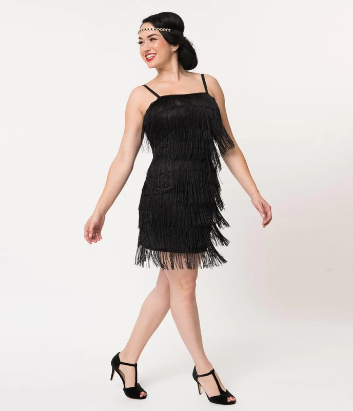 Unique Vintage 1920s Style Black Speakeasy Tiered Fringe ...