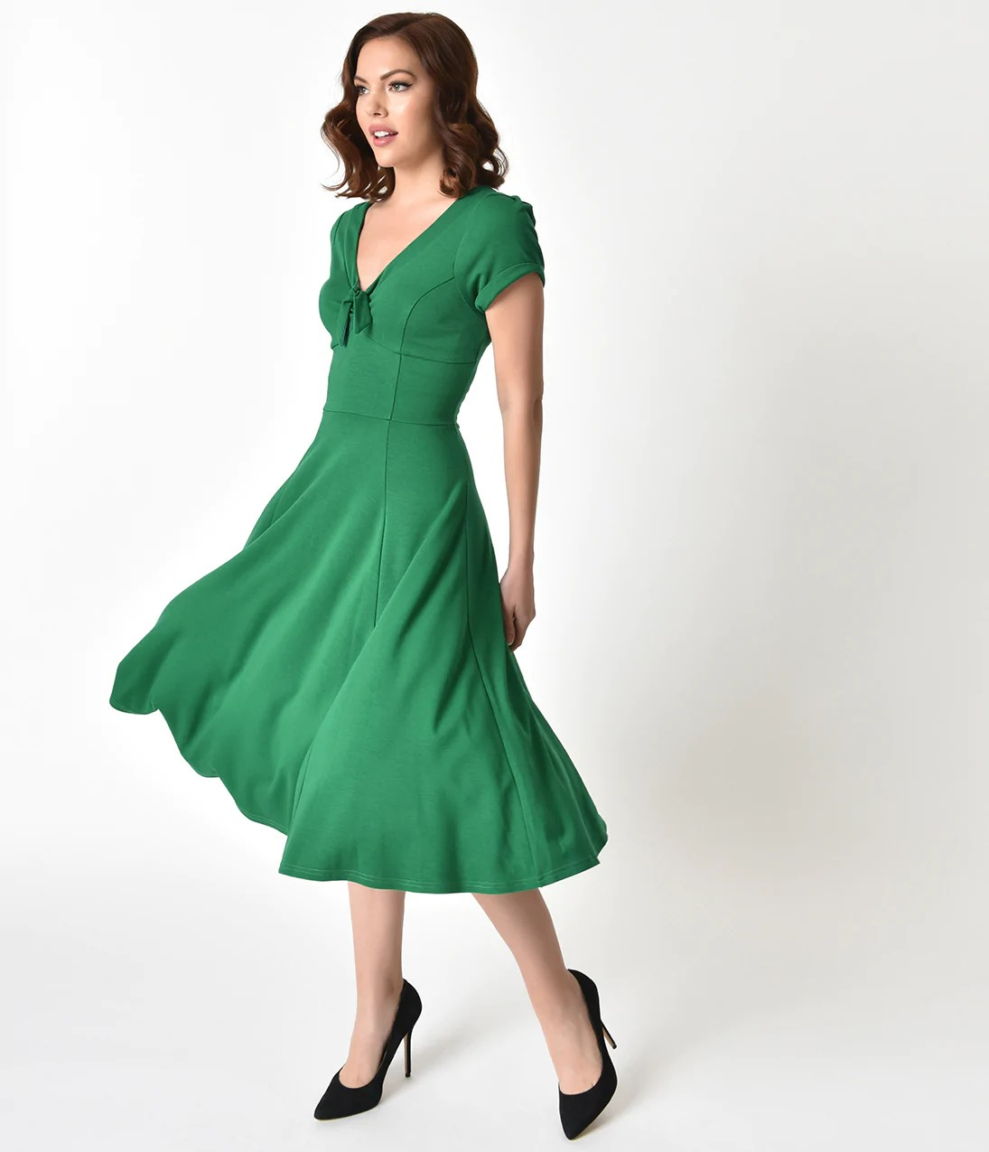 1940s Dresses  Fashion   Clothing     Unique Vintage Unique Vintage 1940s Style Green Knit Short Sleeve Natalie Swing Dress