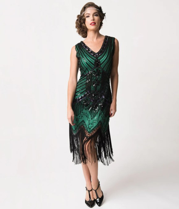 Unique Vintage 1920s Deco Green & Black Sequin Veronique ...