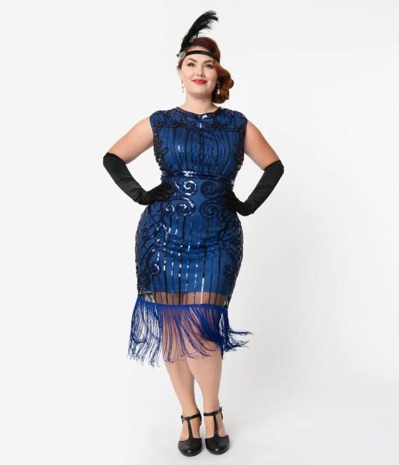 Unique Vintage Plus Size 1920s Style Blue & Black Beaded Avignon Flapp