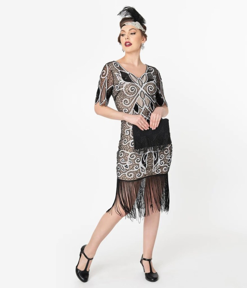Unique Vintage 1920s Style Black & White Sequin Florent ...