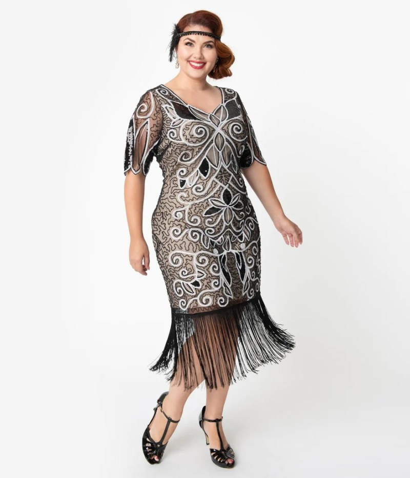 Unique Vintage Plus Size 1920s Style Black & White Sequin Florent Flap