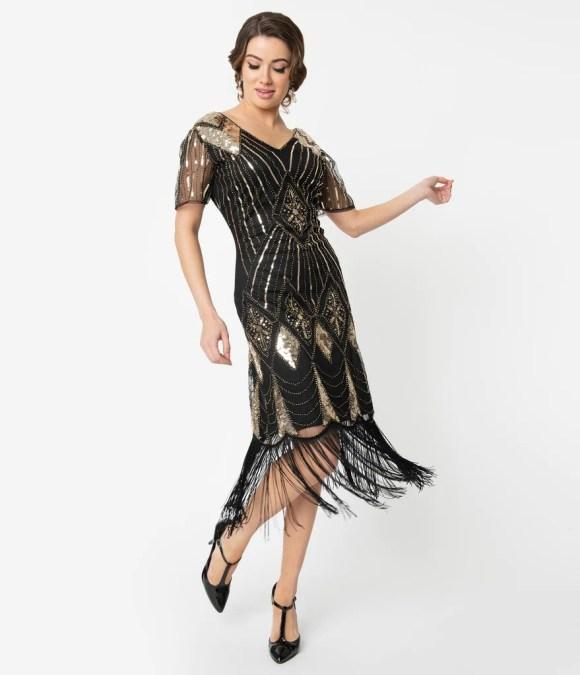 Unique Vintage 1920s Gold Sequin & Black Fringe Katriane Flapper Dress