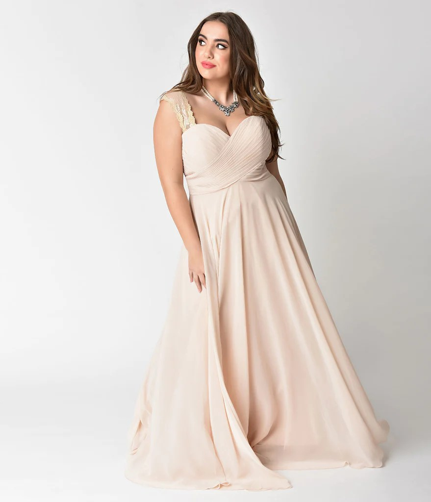 Plus Size Champagne Lace Strap Sweetheart Neckline Chiffon Gown