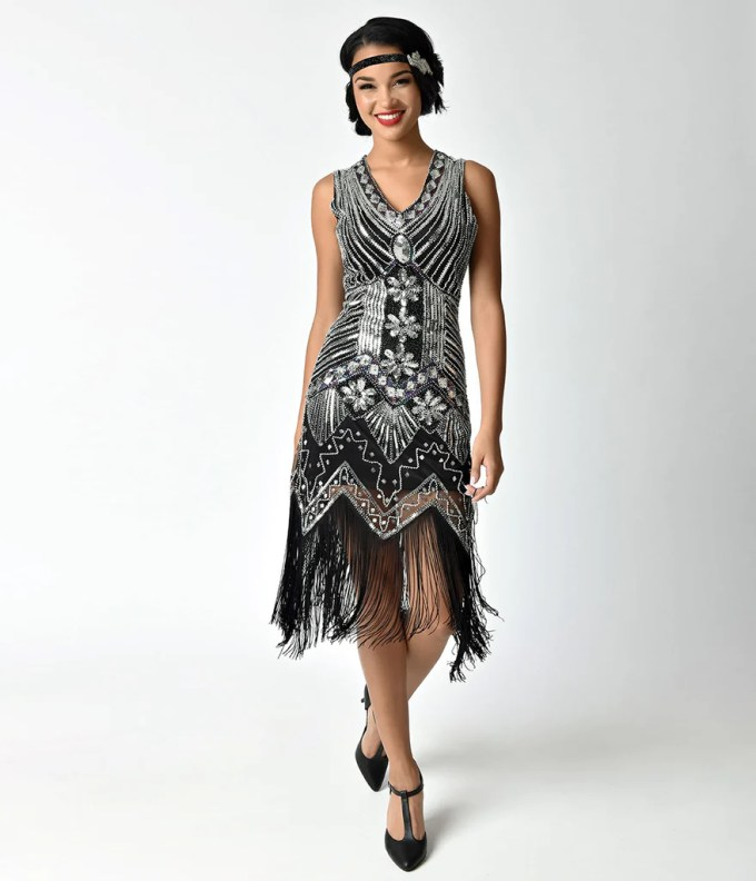 Unique Vintage 1920s Deco Silver & Black Veronique Flapper ...