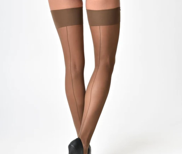 What Katie Did Vintage Style Coffee Tan Glamour Seamed Stockings Unique Vintage