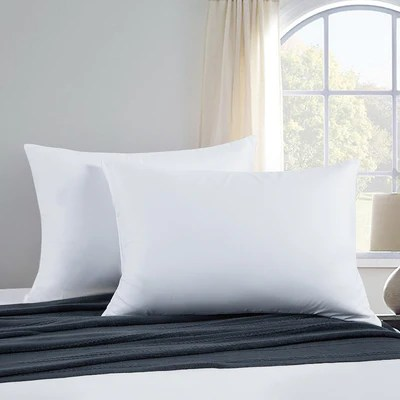 2 pack memory foam goose feather bed pillows 100 cotton cover