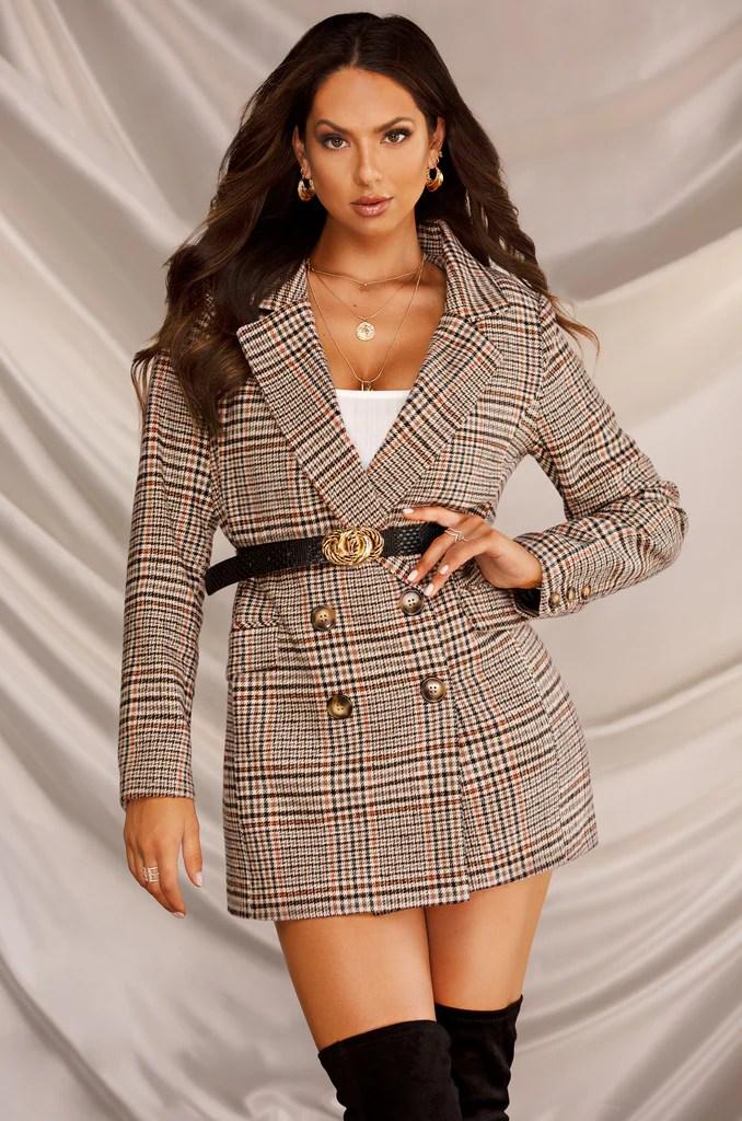 She's The CEO Blazer Dress - Plaid 4