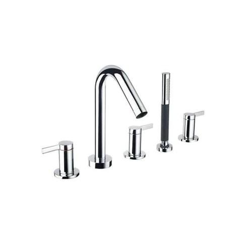 kohler stillness 3 handle 5 hole deck mount bath filler with handshower and diverter lever handle