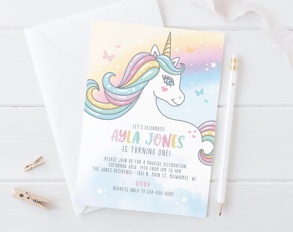 unicorn invitation unicorn birthday invitation invitation printable digital editable template pdf instant download bpb349 1