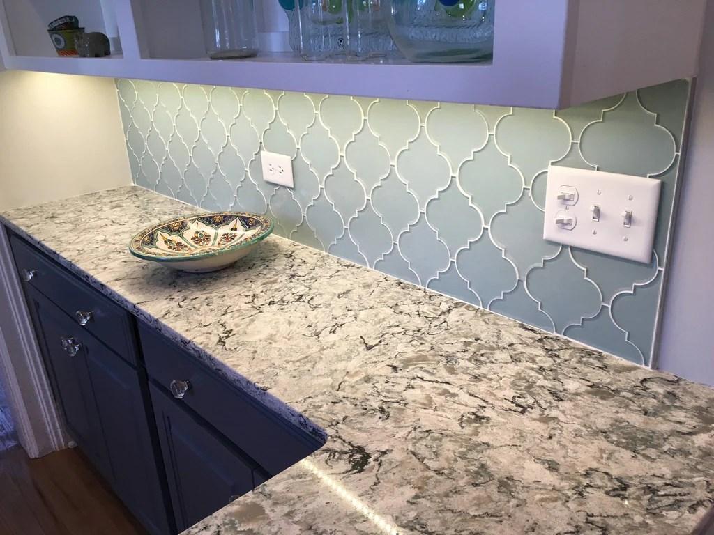 jasper blue grey arabesque glass mosaic tiles