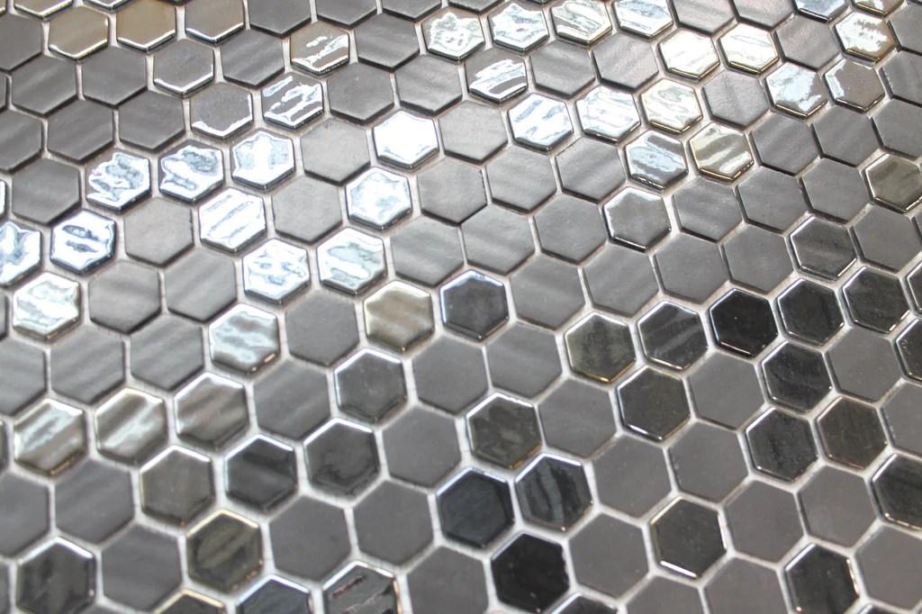 onix 1 inch hexagon mosaic tiles black