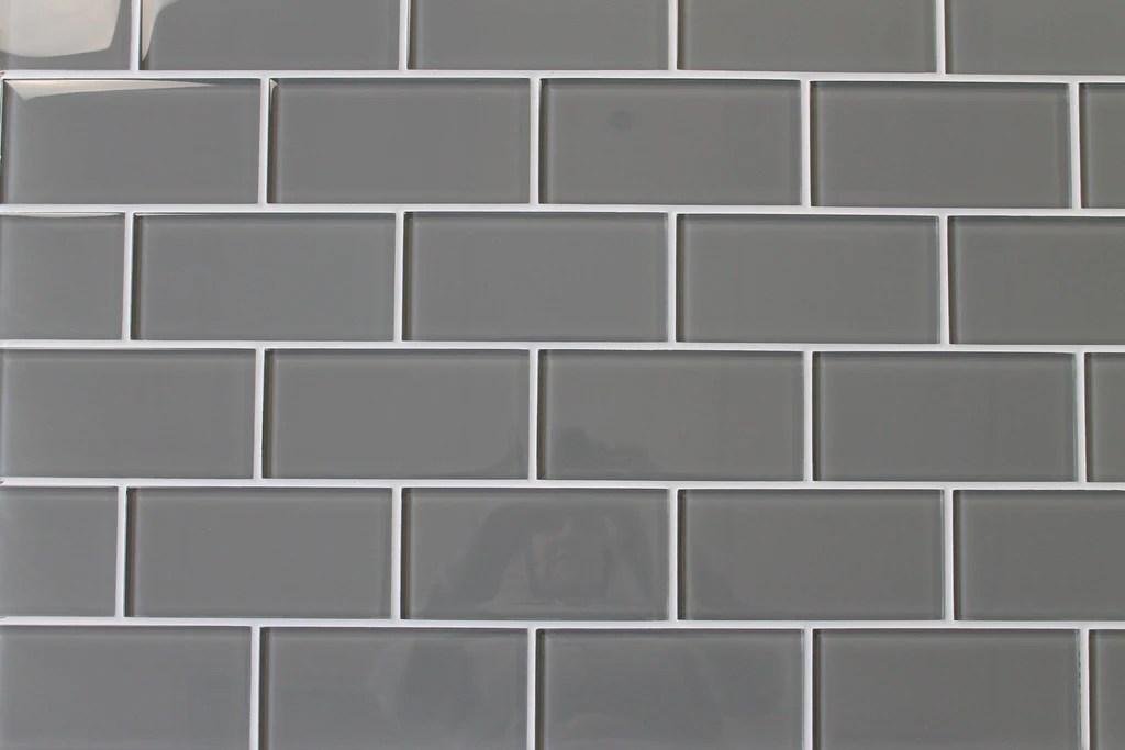 pebble grey 3x6 glass subway tiles