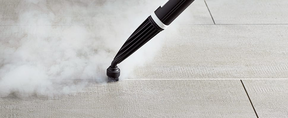 grout and tiles with steam dupray