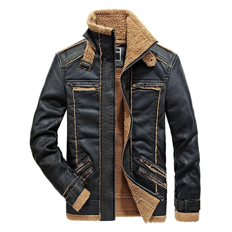 Haina din piele ecologica pentru barbati, cu captuseala din lana, model la moda si calduros, haina potrivita pentru sezonul de toamna si iarna